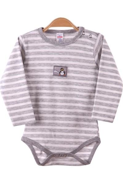Breeze Erkek Bebek Çıtçıtlı Body Gri 9 Ay-3 Yaş