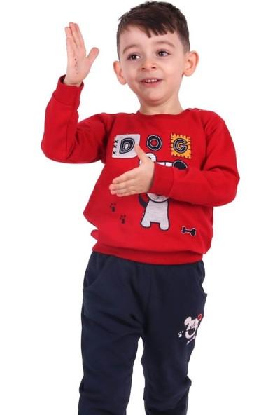 Breeze Erkek Çocuk Eşofman Takımı Köpekli Kırmızı-Lacivert 1-4 Yaş