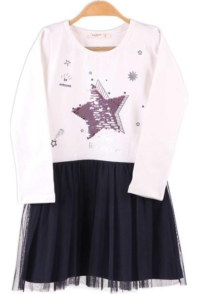 Breeze Kız Çocuk Elbise Pul İşlemeli Tüllü Ekru 6-12 Yaş