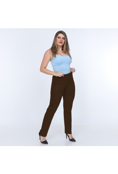 Osman Bey Kadın Büyük Beden Beli Tam Lastikli Yüksek Bel Likralı Kumaş Pantolon Kahverengi