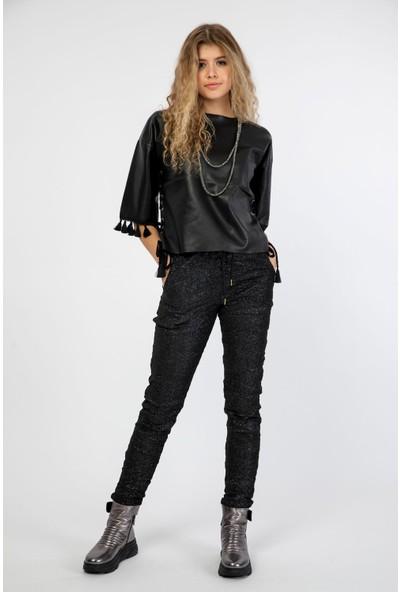 Pua Fashion Siyah Simli Pantolon