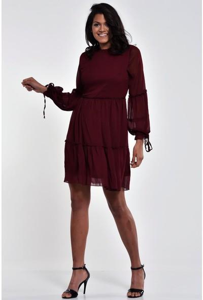 Ultimod Bordo Fırfır Detaylı Uzun Kollu Mini Elbise ULT0077