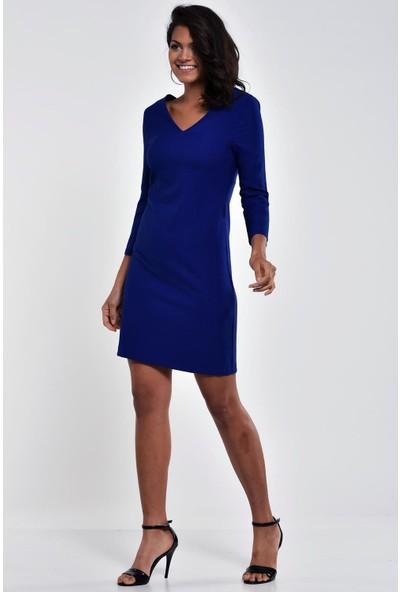 Ultimod Saks Mavi V Yaka Truvakar Kol Mini Elbise ULT0099