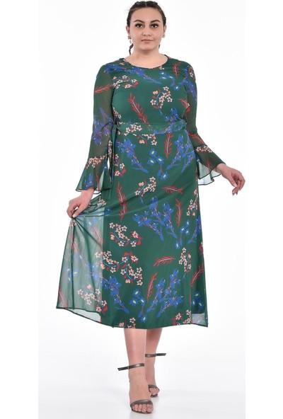 Ultimod Yeşil Çiçek Desenli Kuşaklı Şifon Elbise ULT0153