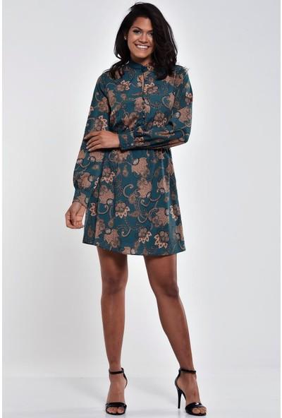 Ultimod Yeşil Etnik Desenli Uzun Kollu Mini Elbise ULT0189