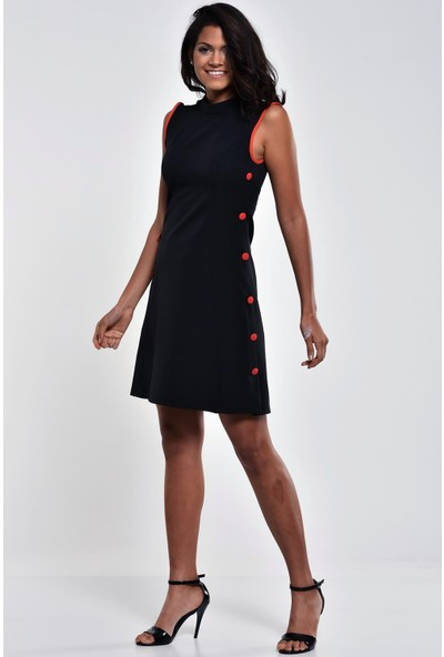 Ultimod Siyah Kolsuz Mini Elbise ULT0220