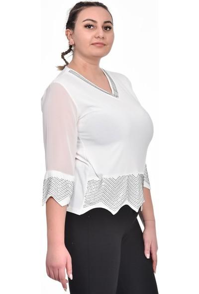Ultimod Beyaz Taş Detaylı V Yaka Büyük Beden Bluz ULT2059