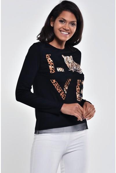 Ultimod Siyah Leopar Desenli Tüllü Bluz ULT211194