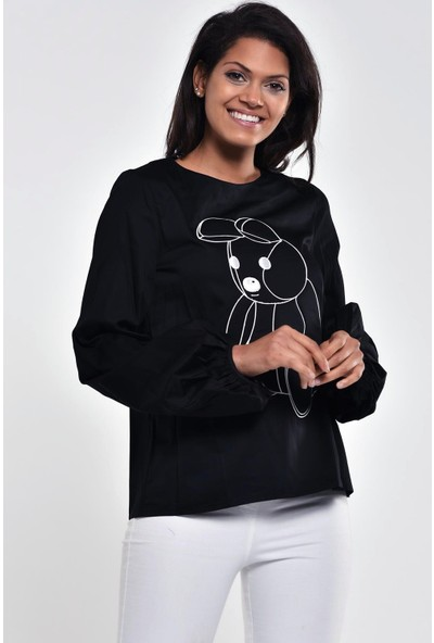 Ultimod Siyah Baskılı Fermuar Kapamalı Bluz ULT211195