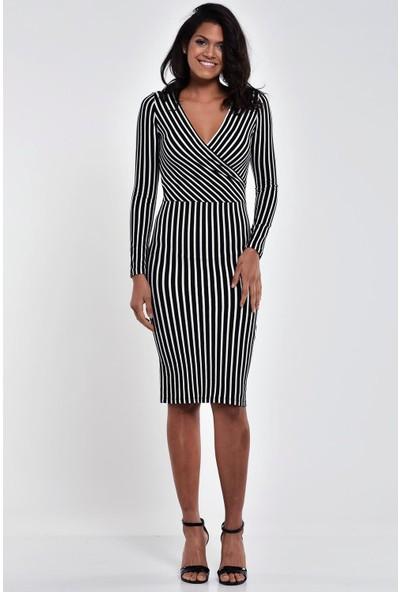 Ultimod Siyah Beyaz Çizgili Kruvaze Yaka Midi Elbise ULT211208