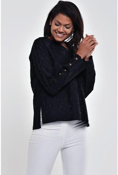 Ultimod Siyah Çiçek Desenli Fermuarlı Bluz ULT211251