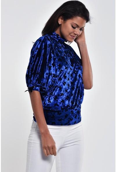 Ultimod Saks Mavi Kelebek Desenli Yarasa Kol Bluz ULT211268