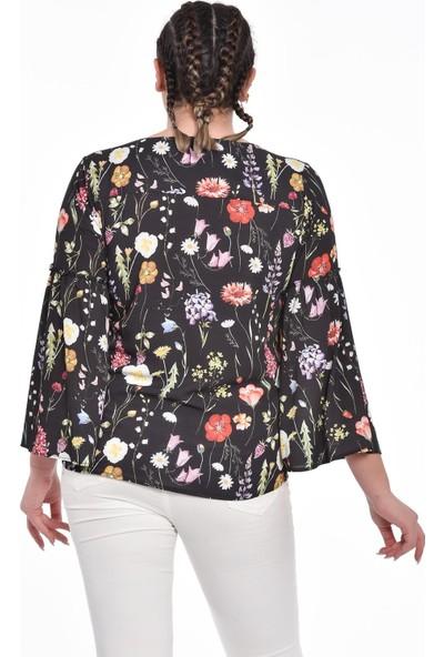 Ultimod Siyah Çiçekli Uzun Kollu Büyük Beden Bluz ULT5102