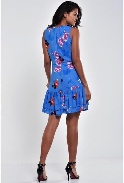 Ultimod Mavi Kruvaze Yaka Çiçek Desenli Mini Elbise ULT5111