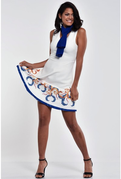Ultimod Beyaz V Yaka Volanlı Mini Elbise ULT5123