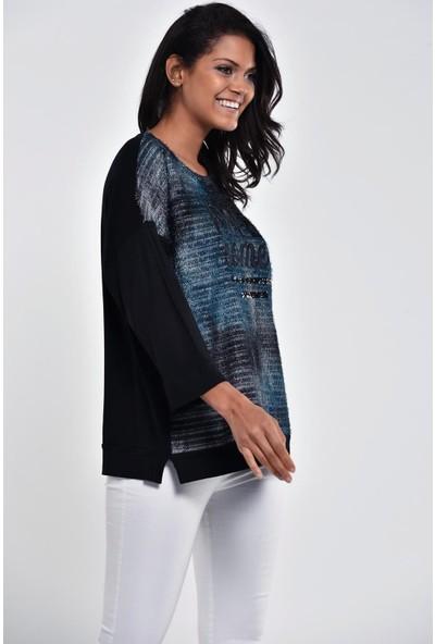 Ultimod Siyah Baskılı Pullu Bluz ULT5283