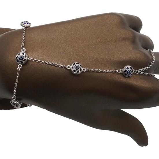Takı Mağaza 925 Ayar Gümüş Ara Zincirli Lacivert Nazar Boncuklu Şahmeran