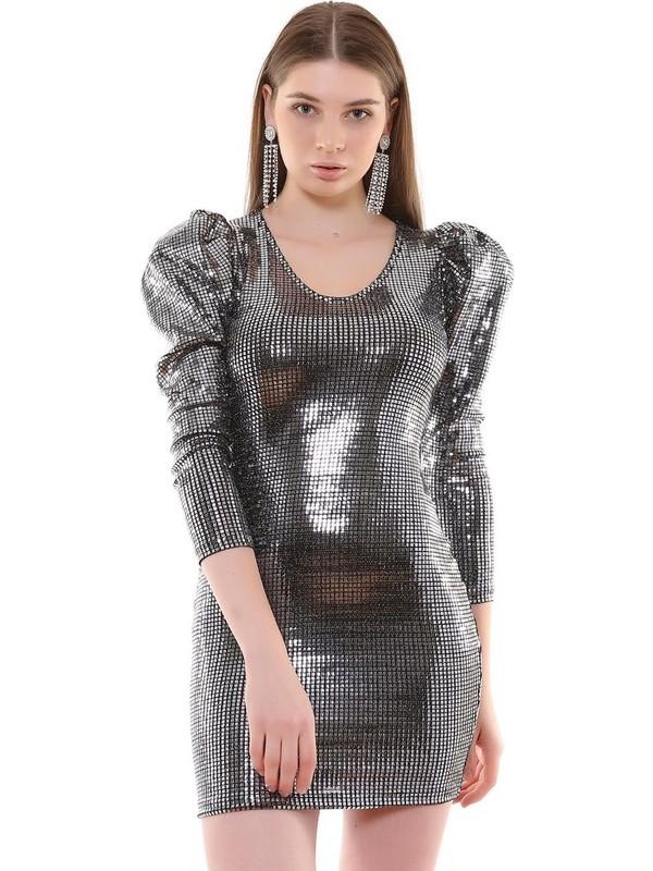 Joyin Joy Altın Payetli Detaylı ElbiseJoy1204