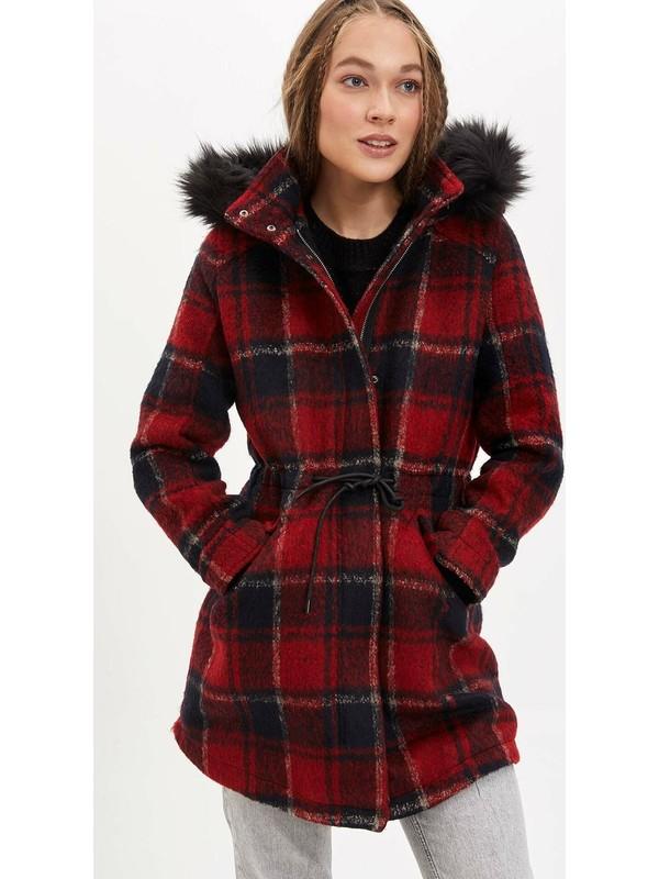 Defacto Kadın Kapüşonlu Kareli Kaşe Ceket