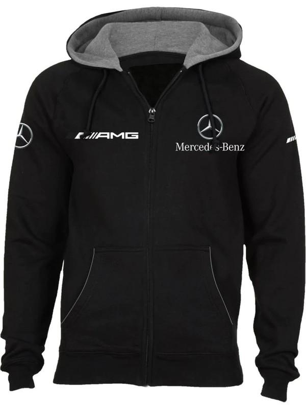 Zenkid Mercedes Amg Kapüşonlu Polar Tam Fermuarlı Siyah Sweatshirt L