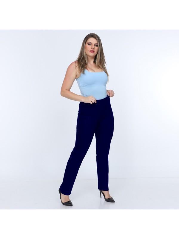 Osman Bey Kadın Büyük Beden Beli Tam Lastikli Yüksek Bel Likralı Kumaş Pantolon Lacivert