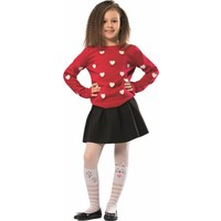 NBB Kız Çocuk Beyaz Kedi Baskılı Külotlu Çorap 9335