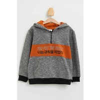 DeFacto Erkek Çocuk Slogan Desenli Kapüşonlu Kanguru Cepli Tekli Sweatshirt M8422A620SP