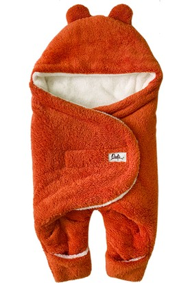 Owli Bebek Kışlık Dış Kundak Battaniye 0-6 Ay Turuncu