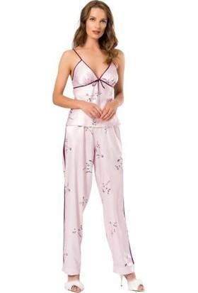 Moongirl 017 Kadın Saten 3'lü Pijama Takım L