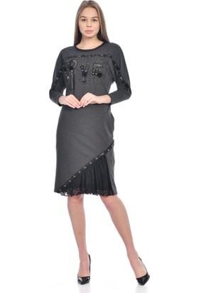 Modkofoni Bisiklet Yaka Uzun Kollu Şeritli ve Taşlı Füme Elbise 44