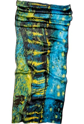 Galiga İpek Fular The Rhone 165 Siyah - Mavi