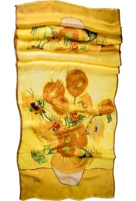 Galiga İpek Fular Yellow Vase 165 Sarı