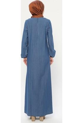 Ginezza Kot Elbise İndigo