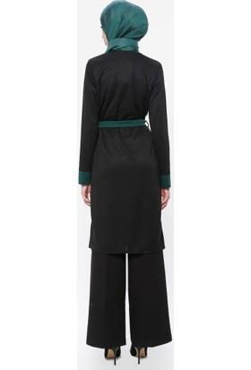 Topless Kuşak Detaylı Düğmeli Tunik Siyah