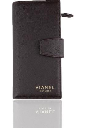 Vianel New York Mina Deri Kadın Cüzdanı Kahverengi