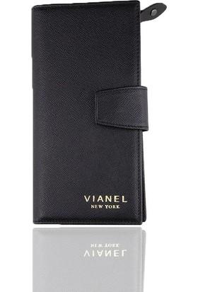 Vianel New York Mina Deri Kadın Cüzdanı Siyah