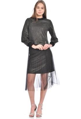 Modkofoni Uzun Kollu Etekte Tül Detaylı Triko Siyah Takım Elbise