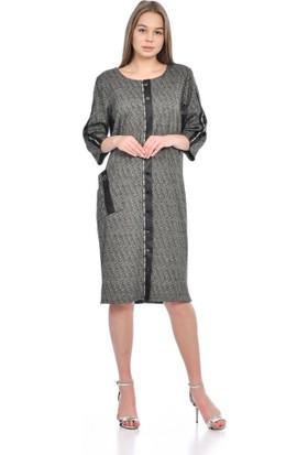 Modkofoni Uzun Kollu Şeritli ve Cepli Çakımlı Gri Elbise