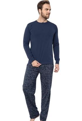 Akare 306 Mevsimlik Likralı Uzun Kollu Cepli Erkek Pijama Takımı Ev Pijaması