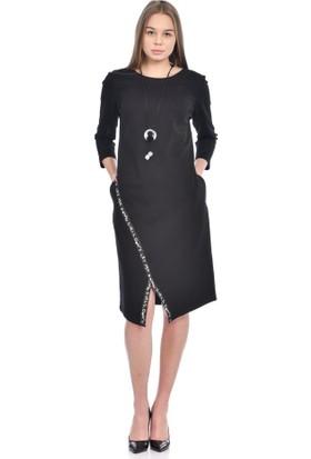 Modkofoni Takı Detaylı Şeritli ve Uzun Kollu Bisiklet Yaka Siyah Elbise
