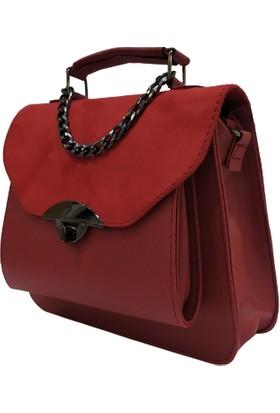 Pyrz Süet Zincir Detaylı Kadın Çanta Kırmızı