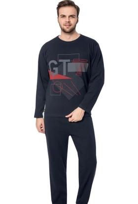Glisa Baskılı Erkek Pijama Takımı Lacivert