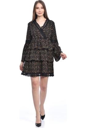 Modkofoni V Yaka Uzun Kollu Dantel ve Çiçekli Siyah Elbise