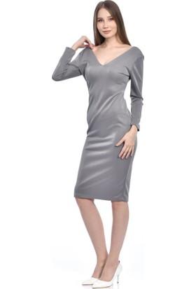 Modkofoni V Yaka Uzun Kollu Gri Elbise