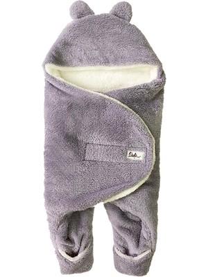 Owli Bebek Kışlık Dış Kundak Battaniye 0-6 Ay Gri