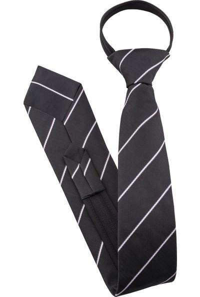 Prokravat Siyah - Beyaz Çizgili Fermuarlı Kravat