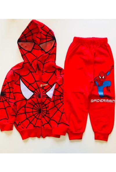 Spiderman Örümcek Adam Fermuarlı Maskeli Kapüşonlu Eşofman Takımı kostümü