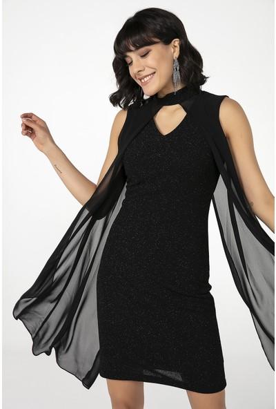 Liplipo V Yaka Şifon Pelerinli Simli Astarlı Elbise