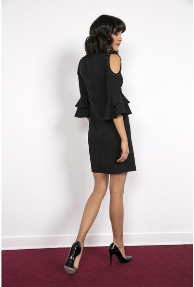 Liplipo Yaka Kol İnci Detaylı Elbise