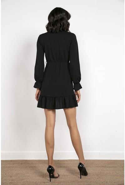 Liplipo Kruvaze Yaka Eteği Volanlı Beli Kuşaklı Elbise